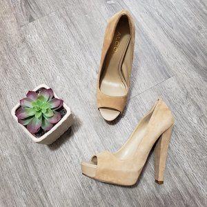 Aldo Tan Ultrasuede Peep Toe Platform Heels 7